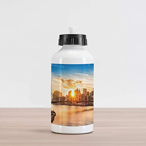 Ambesonne New York Aluminum Water Bottle, Cityscape of Brooklyn Bridge and Manhattan Hudson River Center of Culture Photo, Aluminum Insulated Spill-Proof Travel Sports Water Bottle, Multicolor