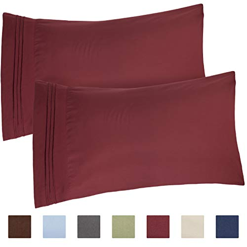 CGK Unlimited Queen Size Pillow Cases Set of 2 - Soft, Premium Quality Hypoallergenic Burgundy Pillowcase Covers - Machine Washable Protectors - 20x40, 20x36 & 20x48 Pillows for Sleeping 2 Pack