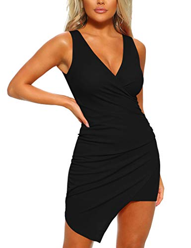 Mizoci Women's Casual Sleeveless Ruched Cocktail Party Dresses Bodycon Mini Sexy Club Dress,Large,Black