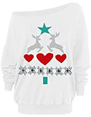 Women Christmas Tops Trendy Off Shoulder Slouchy Pullover Plus Size Loose Elk Print Straples Collar Tshirt