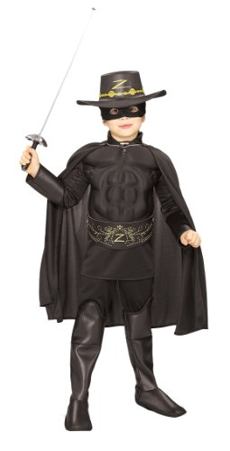 Mask Sword Zorro (Rubie's Costume Zorro Deluxe Muscle Chest Child Costume, Medium)