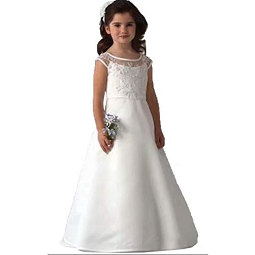 Suiun Dress Birthday Parties Dress Holy First Communion Dress Flower Girls Tulle Lace Dress(White 10) ()