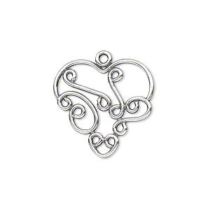 Charm antique silver-plated brass 21x21mm fancy heart with swirl design