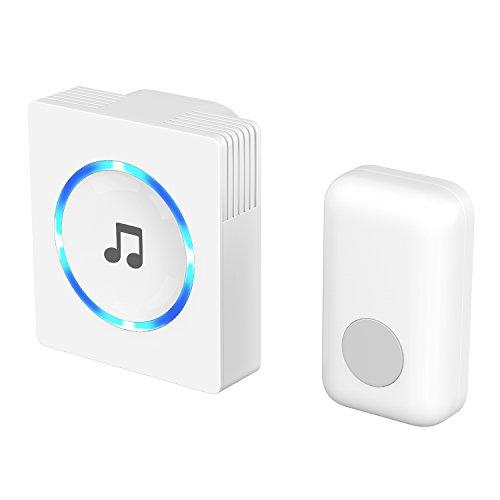 Price comparison product image Chime, JETech Portable Wireless DoorBell Chime Plug-in Push Button with LED Indicator Over 50 Chimes, No Batteries Required for the Receiver (White) - 2120