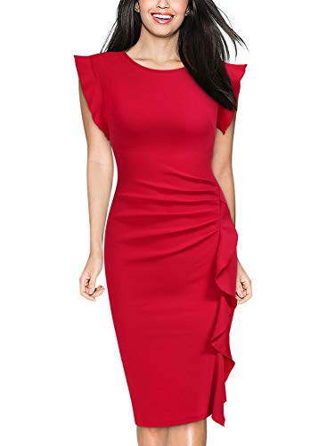 Miusol Women's Retro Ruffles Cap Sleeve Slim Business Pencil Cocktail Dress (Medium, Red)