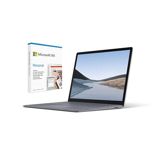 """Microsoft Surface Laptop 3 13.5"""" Intel Core i5 8GB RAM 128GB SSD Platinum with Alcantara + Microsoft 365 Personal 1 Year Subscription for 1 User"""