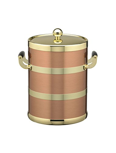 Kraftware Grant Signature Home Americano Collection 5-Quart Ice Bucket with Wood Bale Handle - Brushed Copper & (5 Quart Metal Ice Bucket)