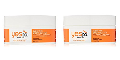 Yes To Carrots Nourishing Super Rich Body Butter 6 oz (Pack of 2) + Makeup Blender