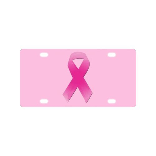 Breast Cancer Awareness Pink Ribbon License Plate with Personalized and Novelty -12