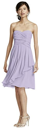David's Bridal Short Crinkle Chiffon Bridesmaid Dress with Front Cascade Style F14847, Iris, 24 Chiffon Cascade