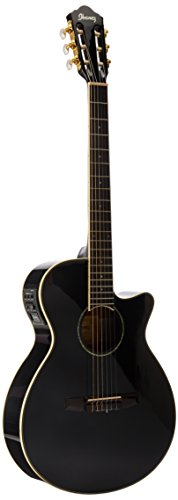 Ibanez AEG10NII Nylon String Cutaway Acoustic-Electric Guitar Black (Ibanez Nylon Cutaway Guitar)