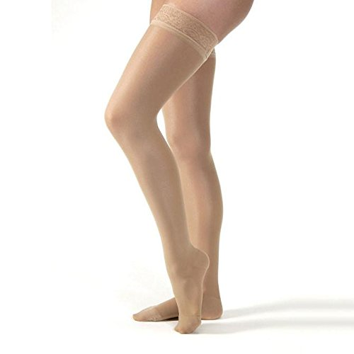 Women's UltraSheer 8-15 mmHg Thigh High Support Stocking Size: Medium, Color: Silky Beige