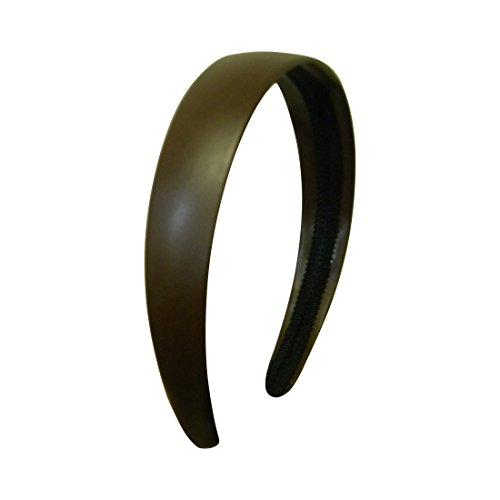 Brown 1 Inch Wide Leather Like Headband Solid Hair band for Women and Girls