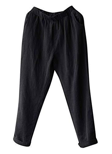 Soojun Womens Cotton Linen Loose Fit Elastic Waist Harm Pant, Black, X-Large Petite