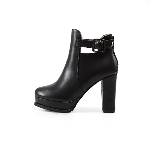 Zipper Imitated Womens Back Buckle 1TO9 Leather Black Platform Boots q7zwPqWO