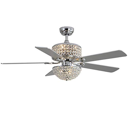 """52"""" Crystal Ceiling Fan With Lights and Remote Control 5 Wood Blades For Living Room Bedroom Decoration Silver…"""