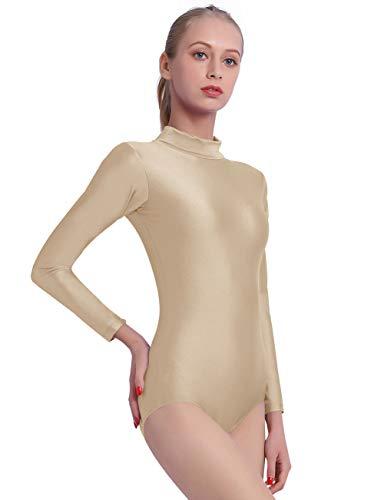 speerise Long Sleeve Adult Ballet Dance Leotards for Women, S, Flesh