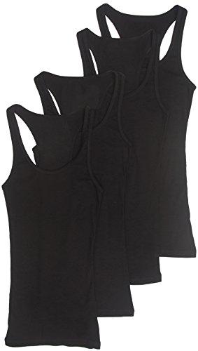 4 Pack Zenana Women's Plus Racerback Ribbed Cotton Tank Tops 3X Black, Black, Black, Black