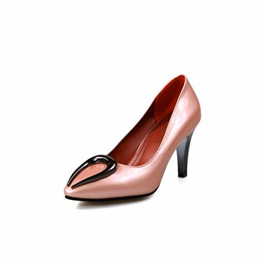Zapatos de Tacón/Documental de Metal Fino, Zapatos de Tacón luz de Recorte, Zapatos, Zapatos de Mujer de Gran Tamaño Pink