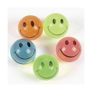(Fun Express Mini Neon Smile Face Bouncing Balls (144)