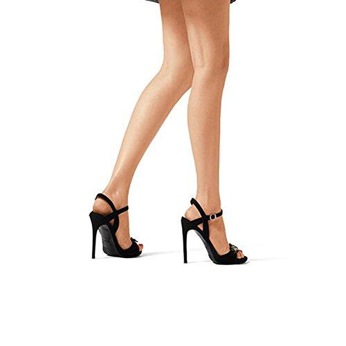 Hoch Pumps High Sandalen 5 Damenschuhe 37 Fersen cm EU 5 Größe Schwarz Dünne UK Dekoration 10 Heels CN37 Hausschuhe 4 DALL Strass OwdqXf8FO