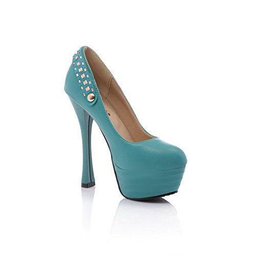VogueZone009 Womens Closed Round Toe High Heel Stiletto PU Soft Material Solid Pumps with Metal, Blue, 5 UK