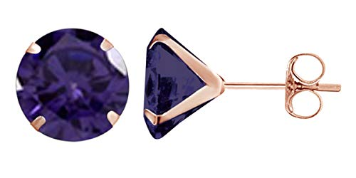 Jewel Zone US 10k Rose Gold 6mm Round Simulated Alexandrite Stud Earrings