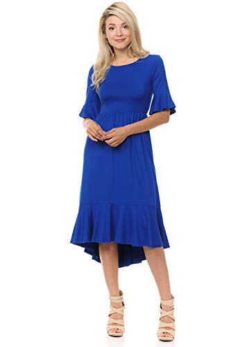iconic luxe Women's Premium Knit Cropped Bell Midi Dress Large Royal Blue
