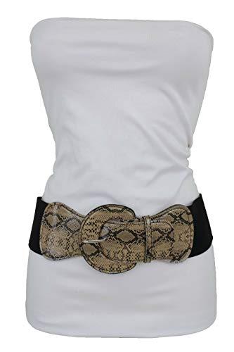 TFJ Women Stretch Wide Belt Waist Hip Snake Skin Faux Leather M L XL Black Beige
