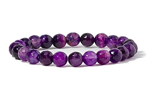 Cherry Tree Collection Gemstone Beaded Stretch Bracelet 8mm Round Beads | Small (Purple Faceted Agate)