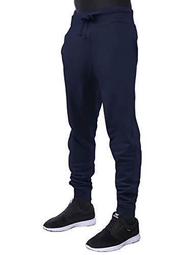(Hat and Beyond Mens Premium Basic Fleece Jogger Pants Elastic Drawstring Active Slim Fit Trousers (Medium, 1hc20_Navy Blazer))