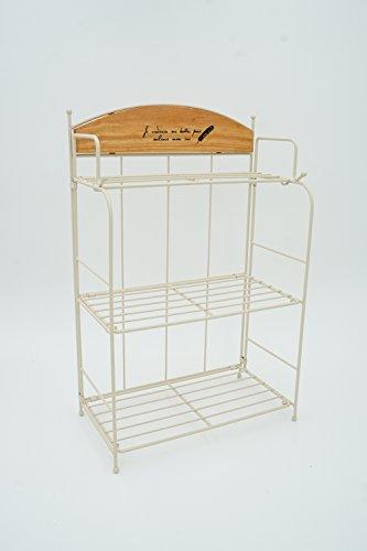 Display Rack French Pot (Decorative 3 Tier White Metal Wire Desktop Storage Organizer Display Shelf Rack)