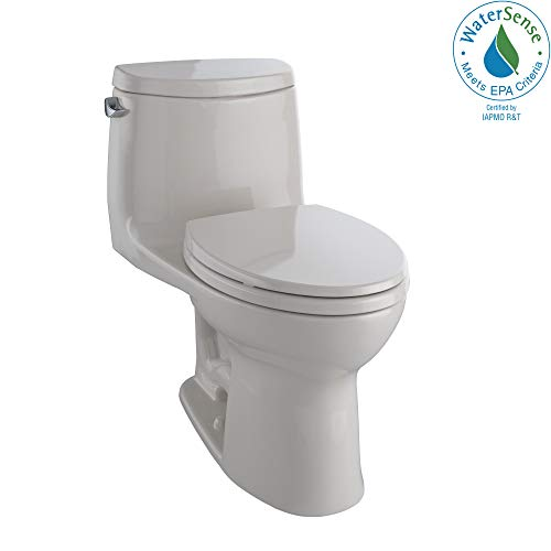 (TOTO MS604114CEFG#12 UltraMax II One-Piece Elongated 1.28 GPF Universal Height Toilet with CEFIONTECT, Sedona Beige)