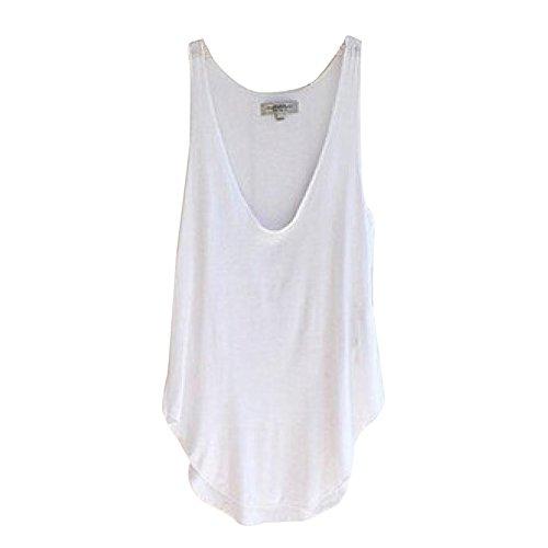 Blackobe Summer Woman Lady Sleeveless V-Neck Candy Vest Loose Tank Tops (White)