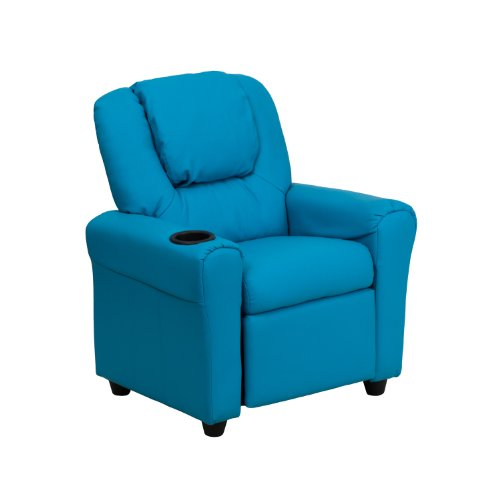Offex OF-DG-ULT-KID-TURQ-GG Contemporary Turquoise Vinyl Kids Recliner with Cup Holder and Headrest by Offex