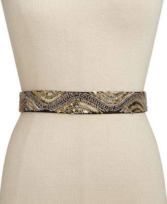 INC Womens Faux Suede Beaded Elastic Belt Bronze S/M
