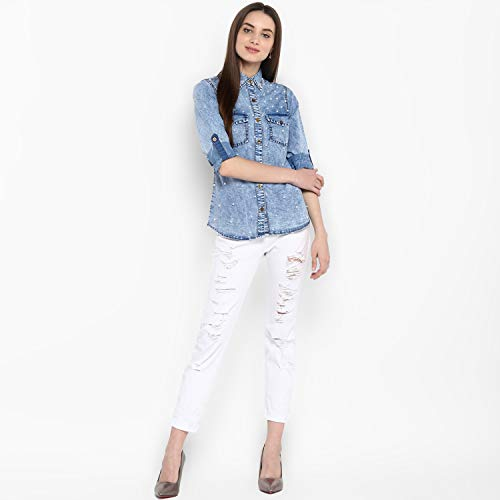 StyleStone Women #39;s Denim Shirt with Pearl Embellishment Blue