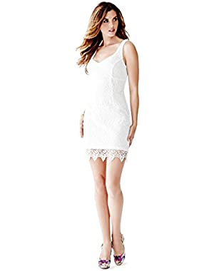 Guess Womens Lace Lined Cocktail Dress