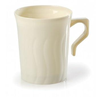 Pack de 16 elegantes tazas de café y té de plástico duro, 20 ml, color marfil: Amazon.es: Hogar