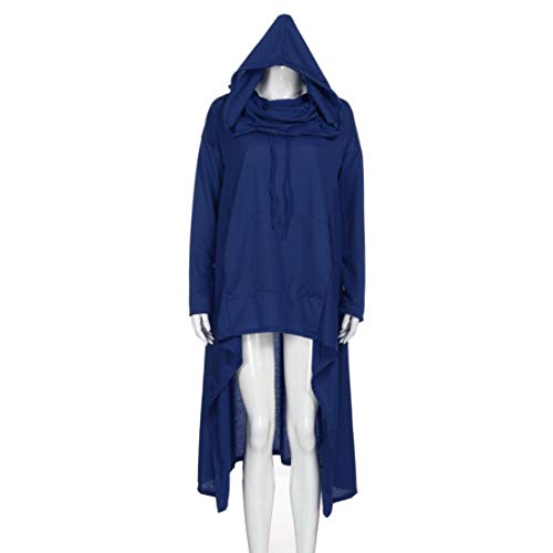 Rambling New Women's Pullover Irregular Hem Long Drawstring Loose Hoodie Top Dress by Rambling (Image #3)