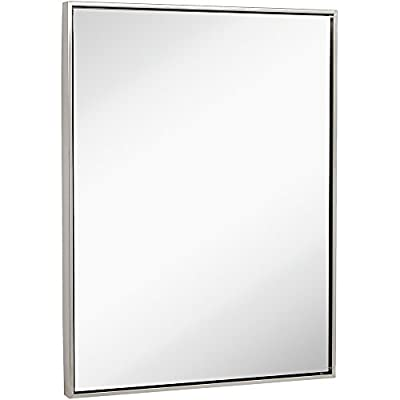 "Clean Large Modern Brushed Nickel Frame Wall Mirror | Contemporary Premium Silver Backed Floating Glass | Vanity, Bathroom | Metal Frame Mirrored Rectangle Hangs Horizontal or Vertical  (30"" x 40"") - SOPHISTICATED DESIGN: Bring simple sophistication to any room with our 30"" x 40"" floating glass modern brushed metal framed mirror. Our brushed stainless steel mirror is a clean contemporary finish. Our premium, large, rectangular, plate glass mirror floats in the frame surrounded by a thin 1/8"" gap and a 1/2"" thick frame. Clean simple edges in a deep 2"" metal finished frame. SAFE AND EASY TO INSTALL: Our glass is safely custom inlaid and protected by the surrounding frame construction. The mirror is recessed into the deep frame and floated from the frame edges. The mirror comes with reinforced D-ring hanging clips as well as the wall hardware and screws to hang it both horizontally or vertically (landscape or portrait). 3 GENERATIONS OF EXCELLENCE: Our family has been manufacturing and producing mirrors for over 3 generations. We stand by the quality of our product and your experience. A family owned business with simple principles. Affordable quality from an American company with a 100% MONEY BACK SATISFACTION GUARANTEE. - bathroom-mirrors, bathroom-accessories, bathroom - 31sXSTnjBAL. SS400  -"