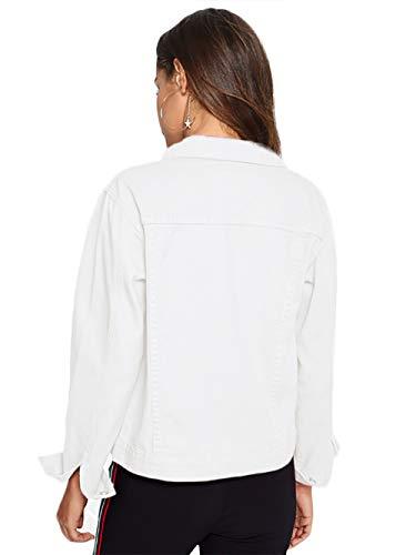 Amoretu Femme Manches Longues Mit En Brusttasche Jeansjacke Veste Blanc Jean rrIxqAd