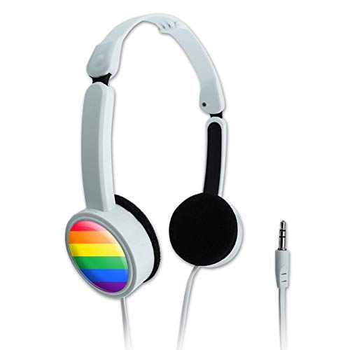 GRAPHICS & MORE Rainbow Pride Gay Lesbian Contemporary Novelty Travel Portable On-Ear Foldable Headphones