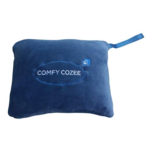 Comfy Cozee 2 In 1 Wearable Fleece Blanket | Folds Into A Soft Pillow | All Season Soft Plush Throw Blanket Keeps You Comfortable When Traveling | Storage Pouch For Travel Accessories | 40 x 60 Inches