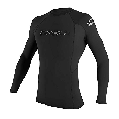 O'Neill Men's Basic Skins UPF 50+ Long Sleeve Rash Guard, Black, Medium