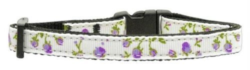 Mirage Pet Products Roses Nylon Ribbon Collar for Cat, Purple