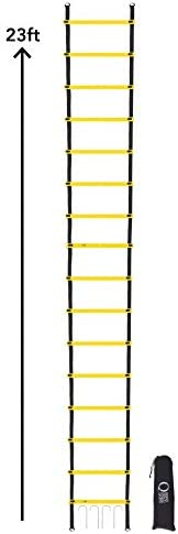 Extra Long, Agility Ladder 23 feet – 14 Rung , Premium Quality, Speed Training Equipment for Teams, Athletes, Individuals and Kids, Adjustable with Carry Bag. Maximize Agility, Speed, Quickness