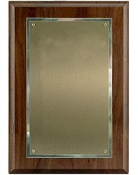 Walnut Plaque 7 x 10, Satin Brass/SilverPlate 5 1/4 x 8 1/4 (Brass Silverplate)