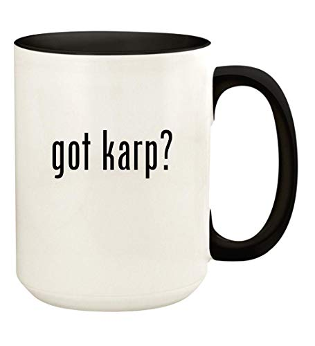 got karp? - 15oz Ceramic Colored Handle and Inside Coffee Mug Cup, Black