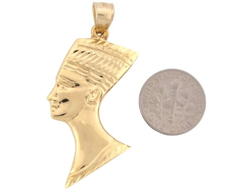 14ct Or Jaune Unique Large Pendentif Pharaon Dieu Egyptien 5.0cm X 2.3cm